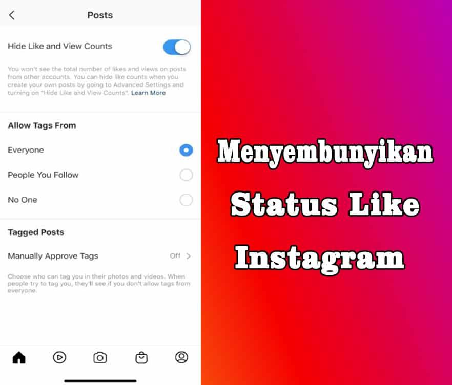 cara menyembunyikan status Suka di instagram